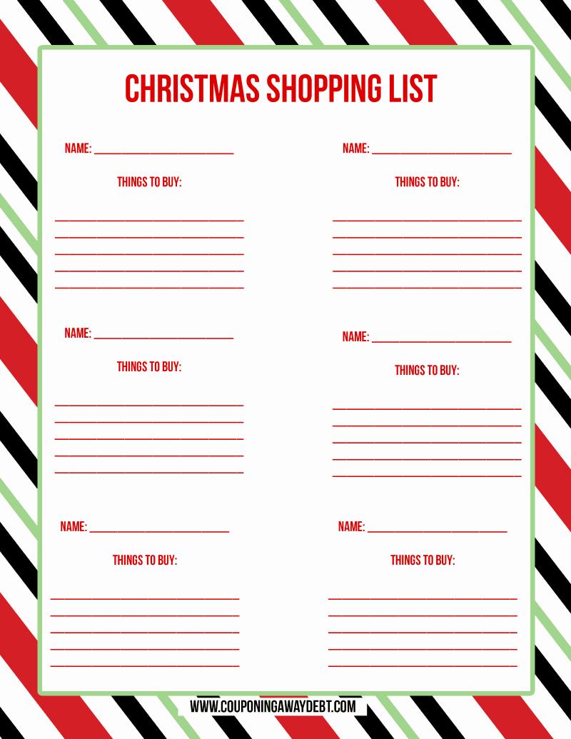 Christmas Shopping List Template Printable Inspirational Printable Christmas Shopping List