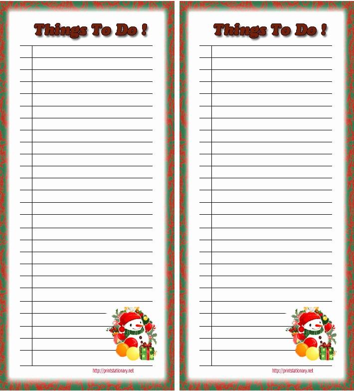 Christmas Shopping List Template Printable Lovely 4 Best Of Free Christmas Printable to Do List