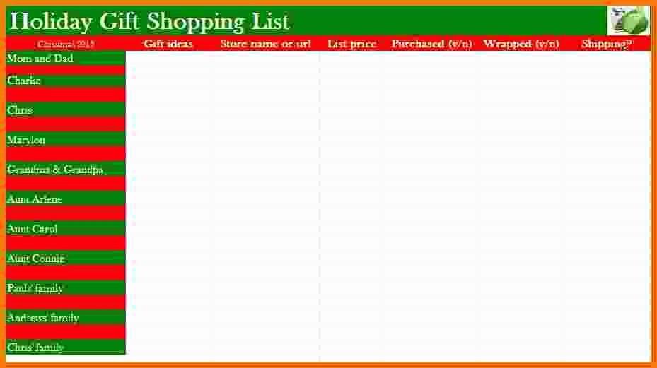 Christmas Shopping List Template Printable Luxury Christmas Gift List Template Invitation Template