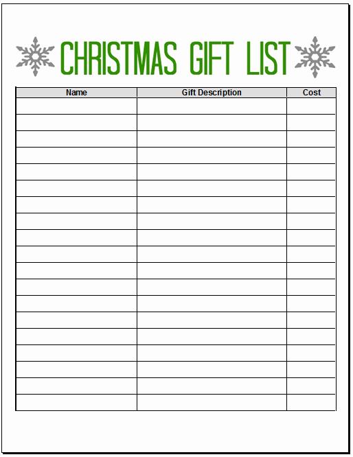 Christmas Shopping List Template Printable Luxury Printables