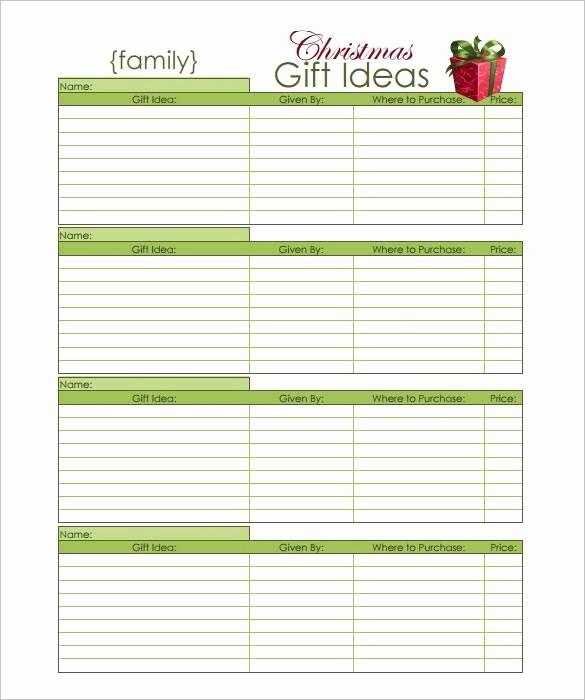 Christmas Shopping List Template Printable New 27 Christmas Gift List Templates Free Printable Word