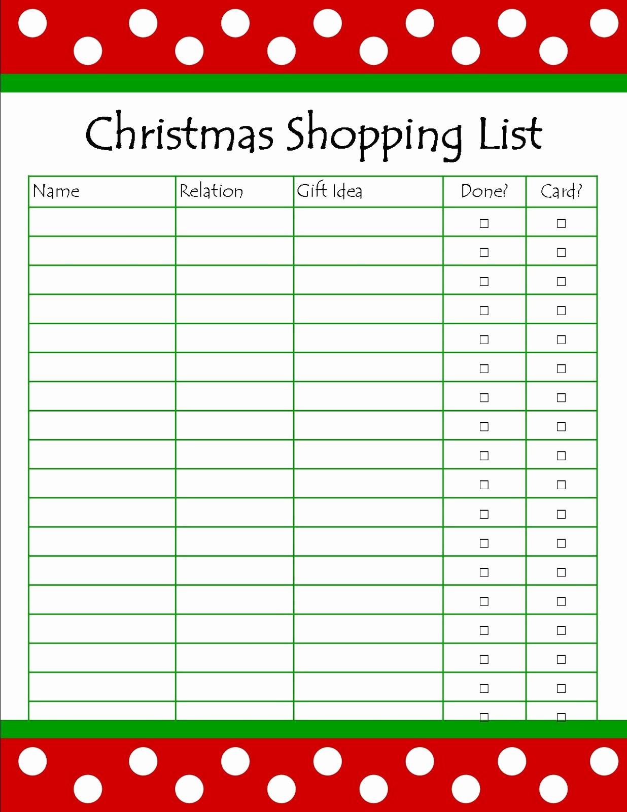 Christmas Shopping List Template Printable New It S so Splendid Free Printable Christmas Shopping List