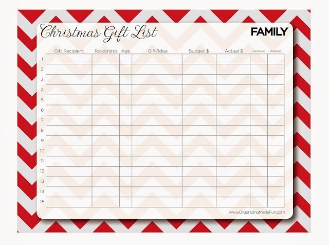 Christmas Shopping List Template Printable Unique 4 Best Of Xmas Gift List Printables Christmas and