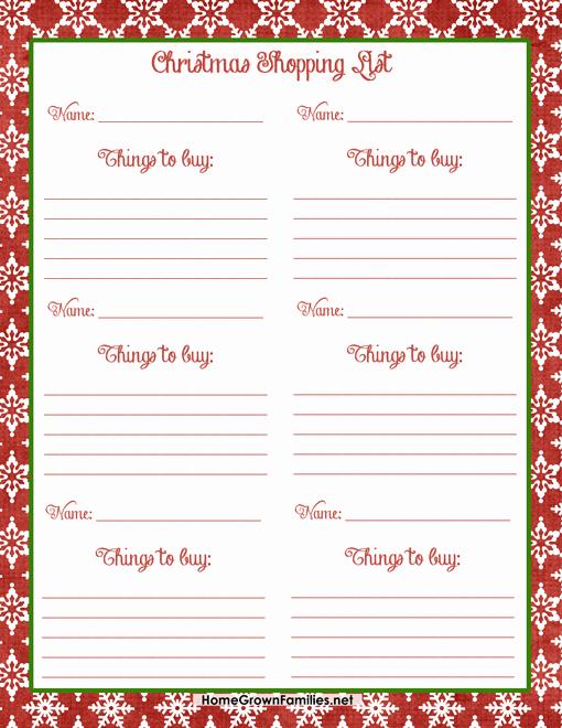 Christmas Shopping List Template Printable Unique Christmas Shopping List Free Printable Home Grown Families