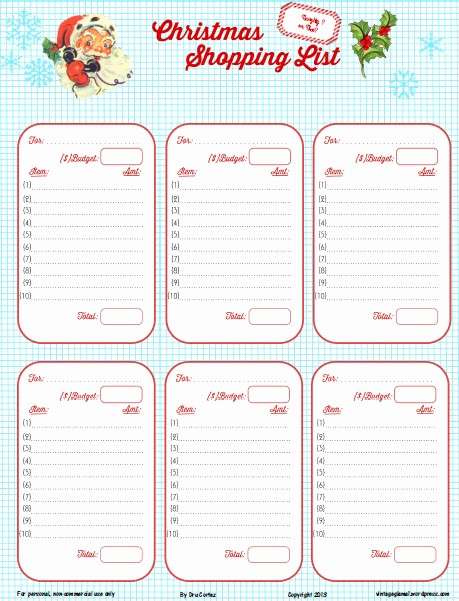 Christmas Shopping List Template Printable Unique Free Printable Download Retro Christmas Shopping List