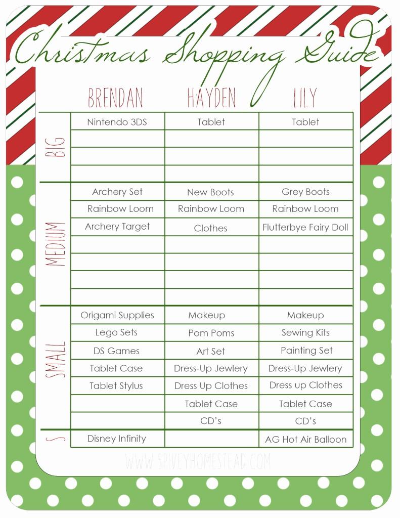 Christmas Shopping List Template Printable Unique Printable Christmas Food Shopping List Templates