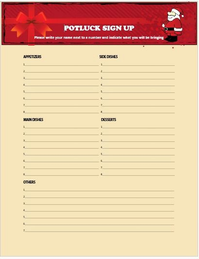 Christmas Sign Up Sheet Templates Awesome 13 Gorgeous Christmas Potluck Signup Sheets to Impress