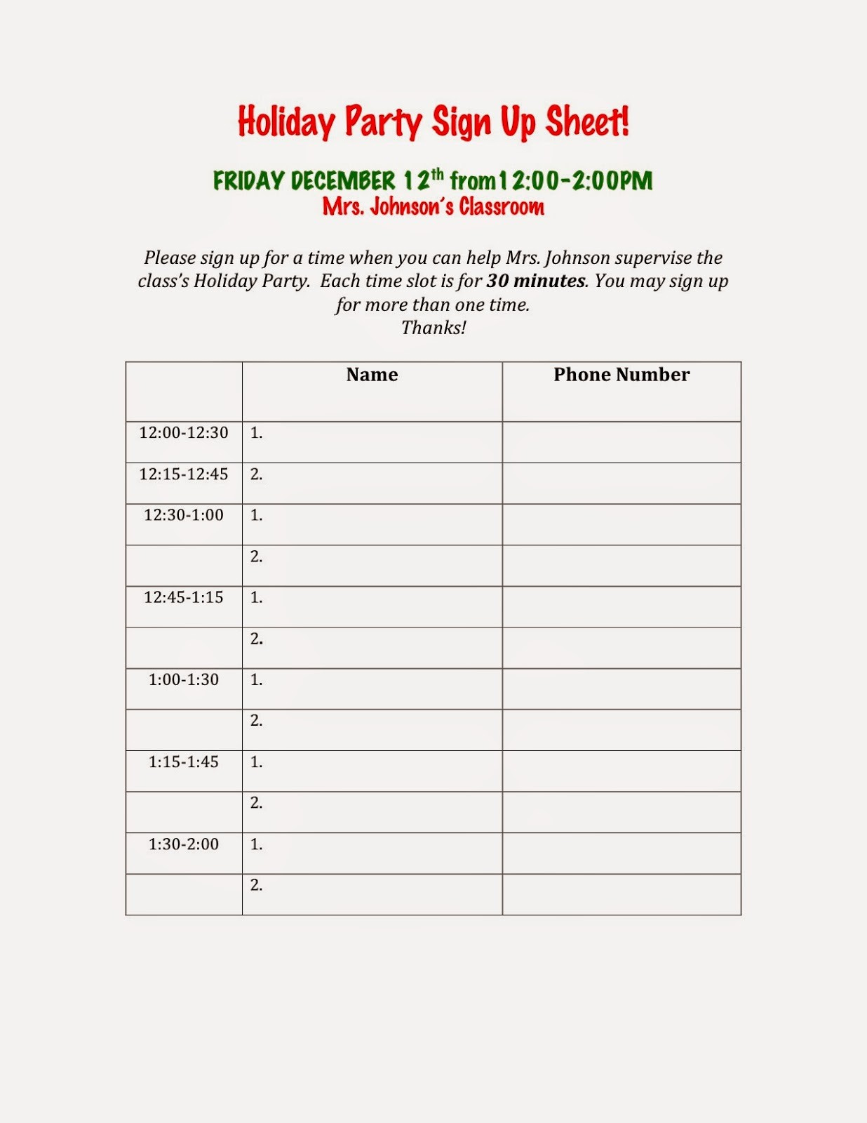 Christmas Sign Up Sheet Templates Beautiful Avenue B Holiday Party Sign Up Sheets
