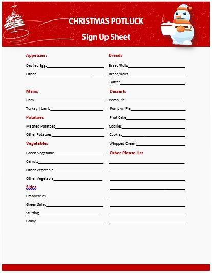 Christmas Sign Up Sheet Templates Elegant 13 Gorgeous Christmas Potluck Signup Sheets to Impress