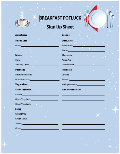 Christmas Sign Up Sheet Templates Luxury 13 Charming Breakfast Potluck Sign Up Sheets Free Word