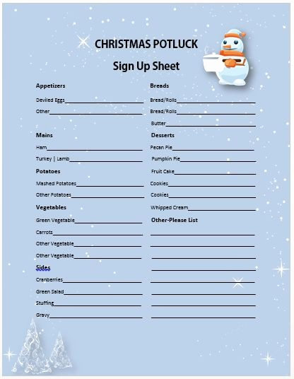 Christmas Sign Up Sheet Templates New 13 Gorgeous Christmas Potluck Signup Sheets to Impress