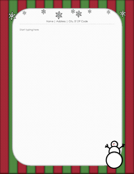 Christmas Stationery Templates Word Free Awesome Holiday Stationery with Snowman