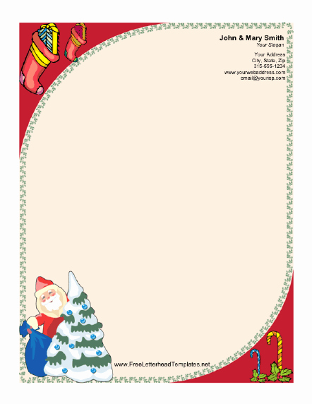 Christmas Stationery Templates Word Free Elegant Santa Claus and Christmas Tree Letterhead