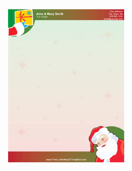 Christmas Stationery Templates Word Free Fresh Santa Claus and Gift Letterhead