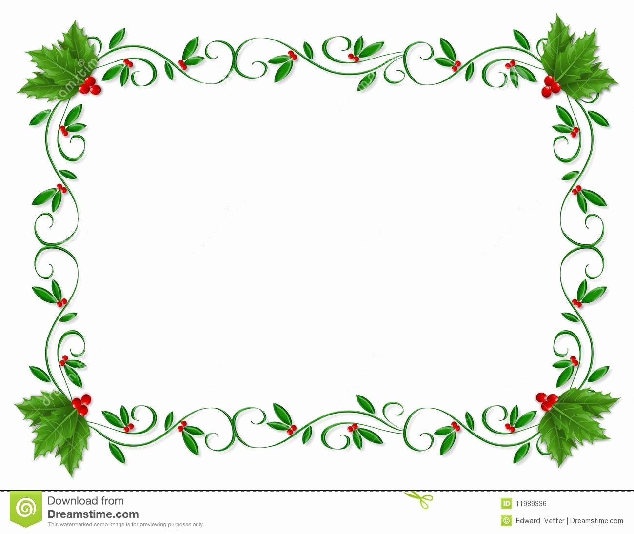 Christmas themed Borders for Word Awesome Christmas Border Holly ornamental Download From Over 53