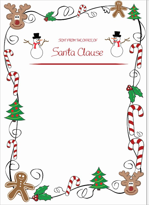 Christmas themed Borders for Word Unique 37 Christmas Letter Templates Free Psd Eps Pdf format