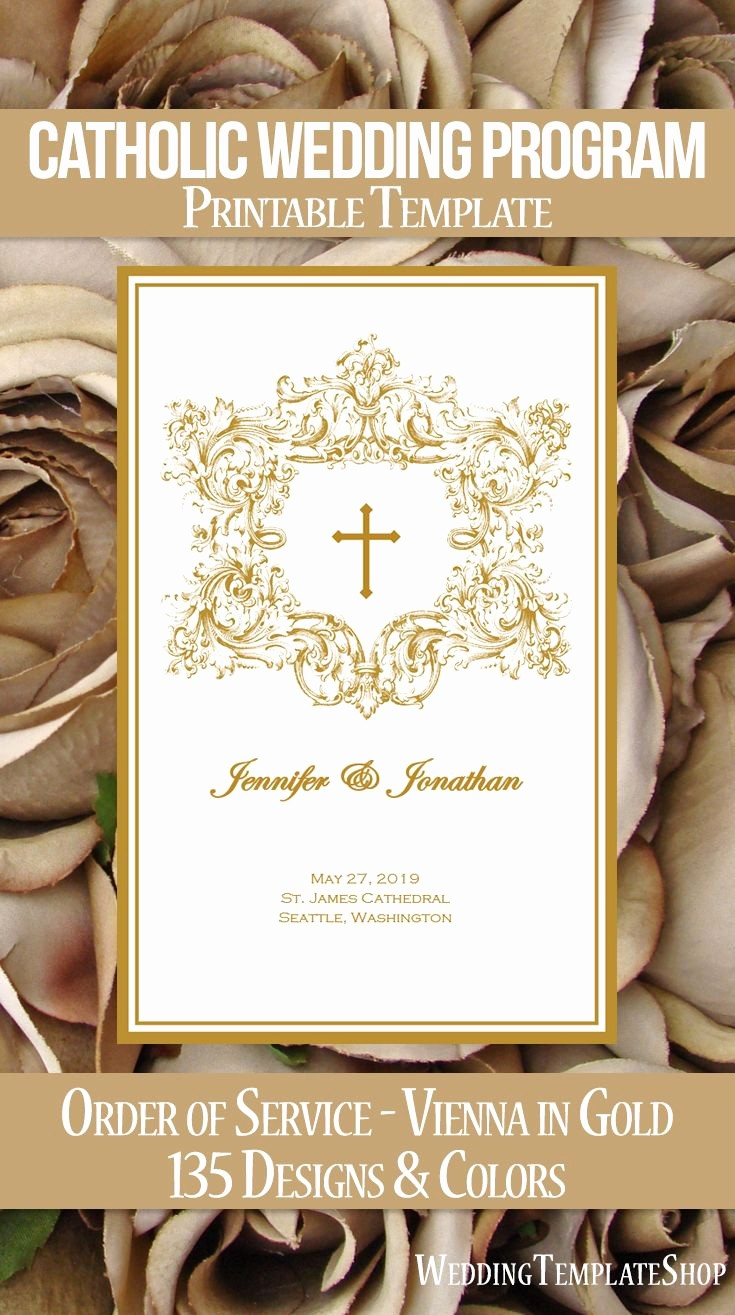 Church order Of Service Template Beautiful Catholic Wedding Programs Diy Templates order Of Service