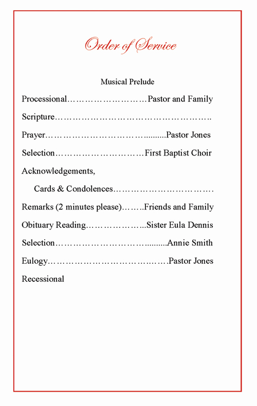 Church order Of Service Template Best Of Funeral Program order Of Service