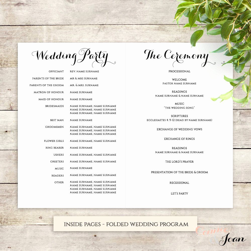 Church order Of Service Template Elegant byron Printable Wedding order Of Service Template In 2019