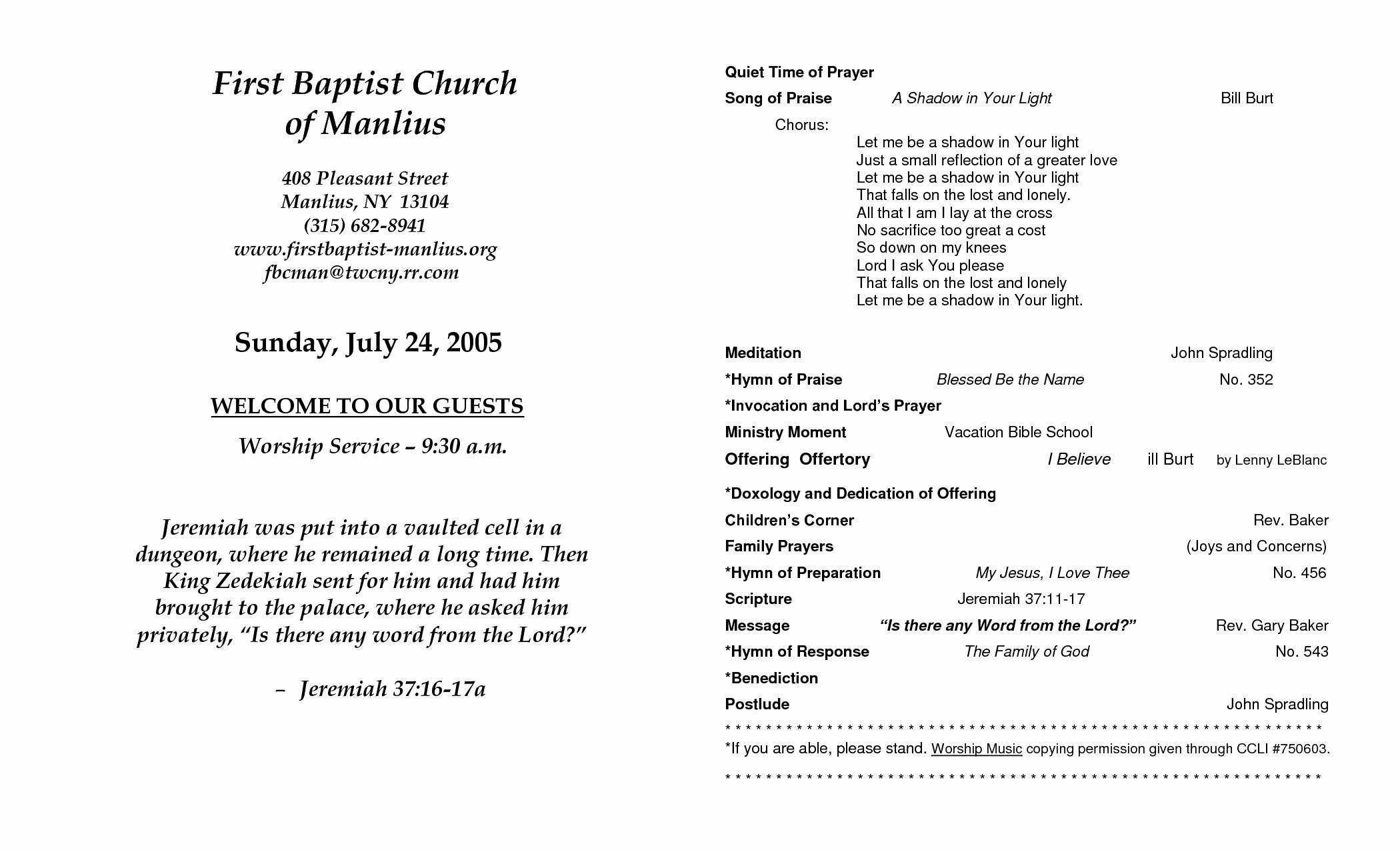 church program template
