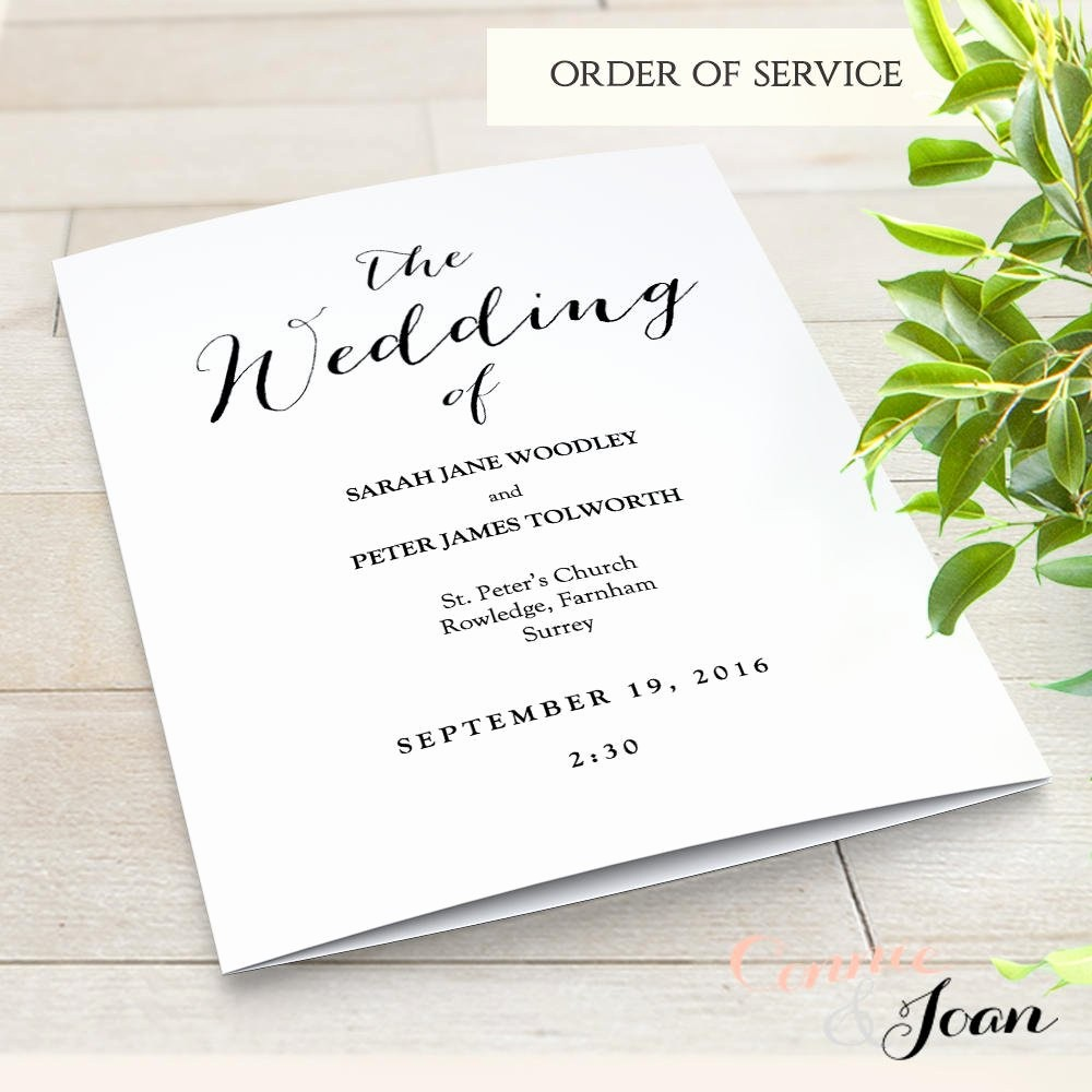 Church order Of Service Template Inspirational Booklet Wedding Program Template Church order Of Service