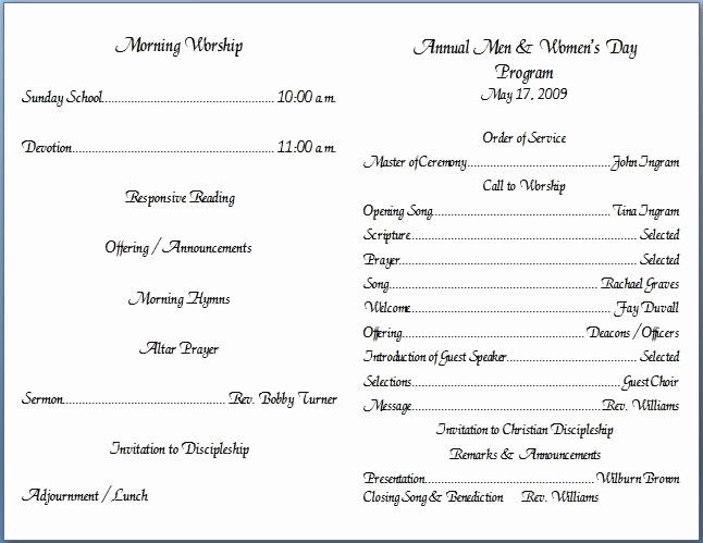 Church order Of Service Template Inspirational Free Church Bulletin Layouts