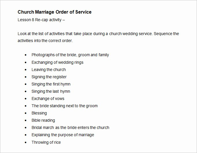 Church order Of Service Template Inspirational Wedding order Template – 38 Free Word Pdf Psd Vector