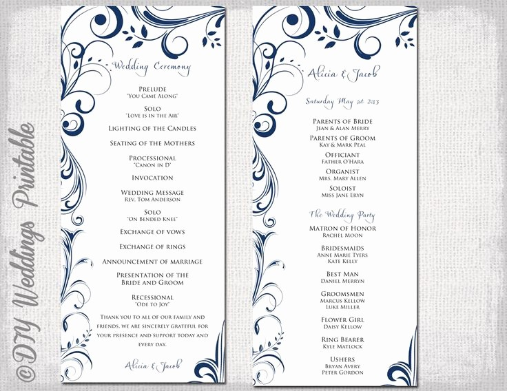 Church order Of Service Template Luxury Wedding Program Template Navy Blue Instant