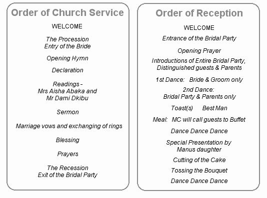 Church order Of Service Template New Wedding Reception In Church Wording Google Search
