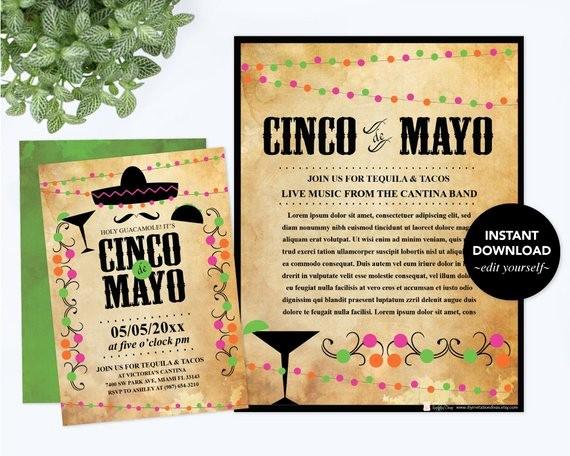 Cinco De Mayo Invite Template Fresh Editable Text Cinco De Mayo Invitation with Free Flyer Fiesta