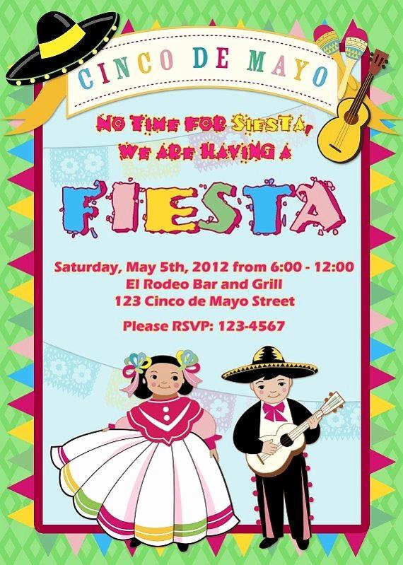 Cinco De Mayo Invite Template Lovely Cinco De Mayo Fiesta Personalized Invitation Diy