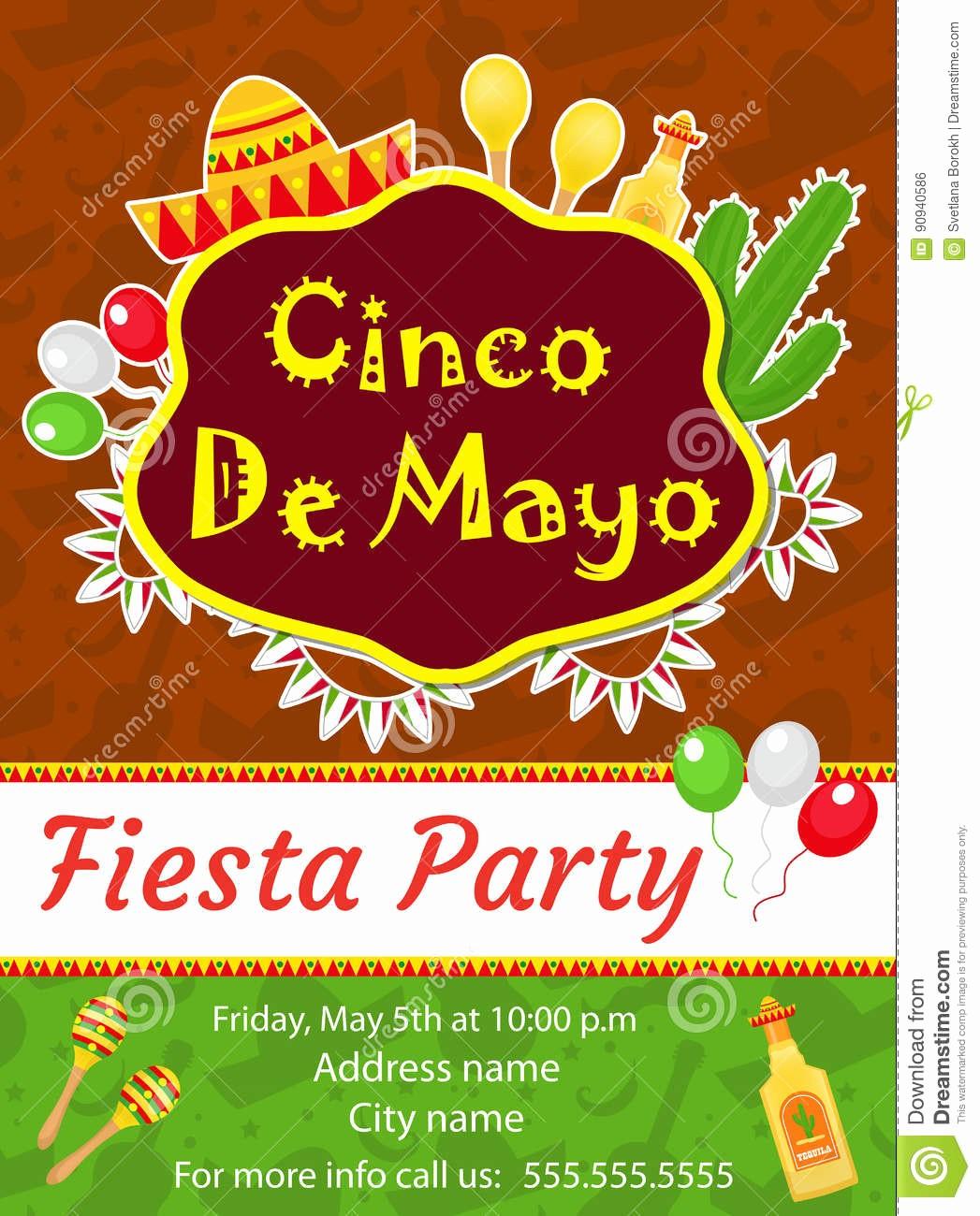 Cinco De Mayo Invite Template New Cinco De Mayo Invitation Template Flyer Mexican Holiday