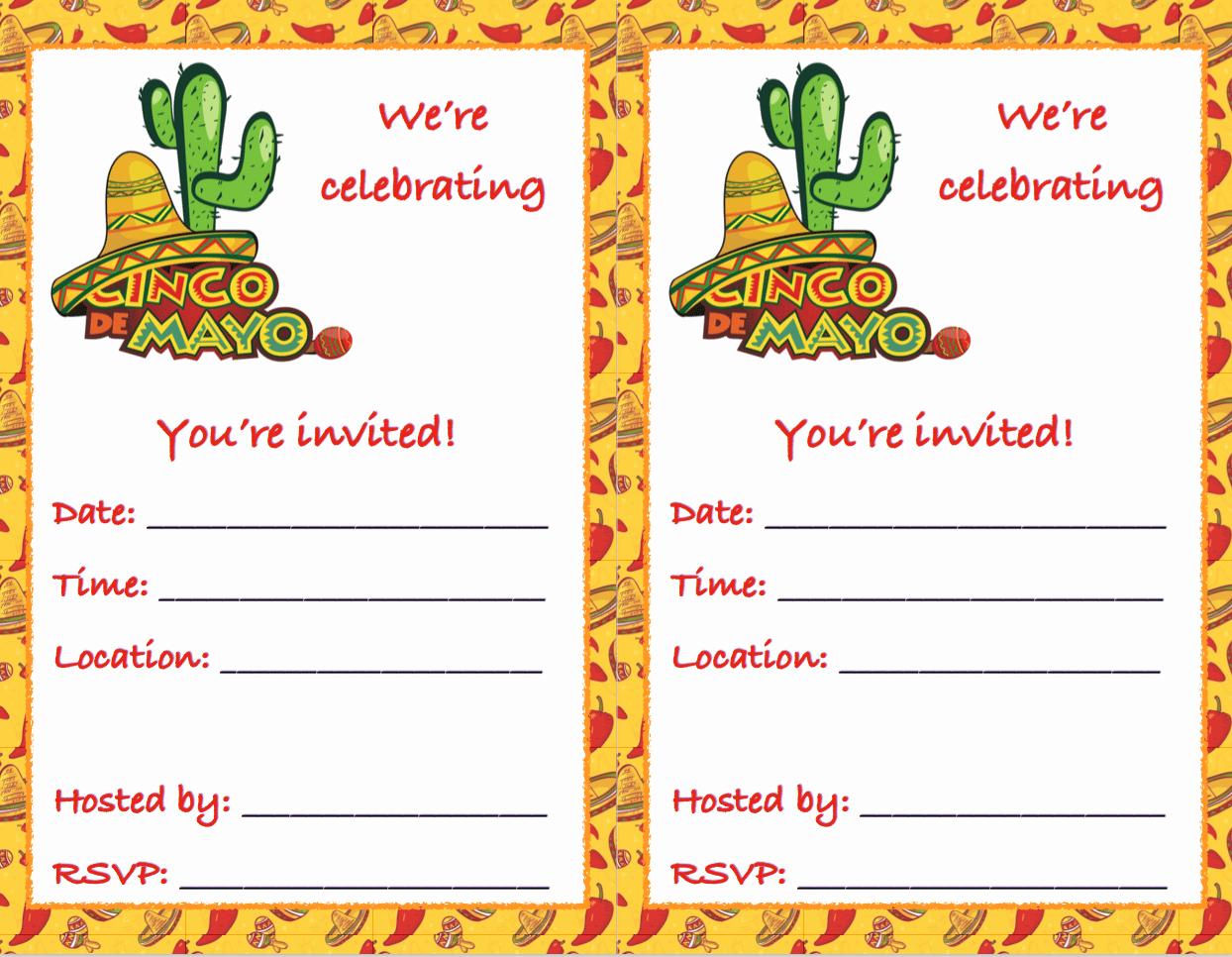 Cinco De Mayo Invite Template New Free Printable Cinco De Mayo Invitations 2 Different