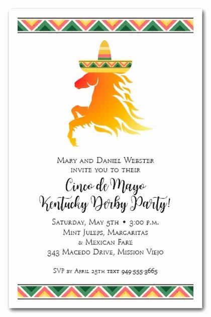 Cinco De Mayo Invite Template New Kentucky Derby De Mayo Horse Wearing sombrero Party