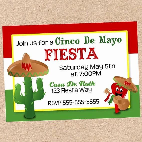 Cinco De Mayo Invite Template Unique Cinco De Mayo Fiesta Invitation Diy Printable