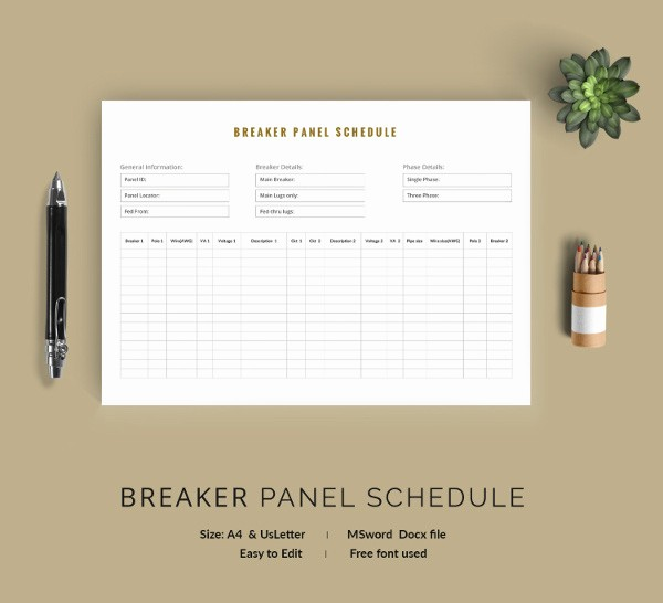 Circuit Breaker Template Ms Word Best Of 19 Panel Schedule Templates Doc Pdf