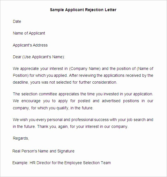 Claim Denial Letter Sample Airline Beautiful 27 Rejection Letters Template Hr Templates