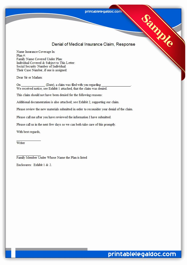 Claim Denial Letter Sample Airline Lovely Free Printable Denial Medical Insurance Claim Response