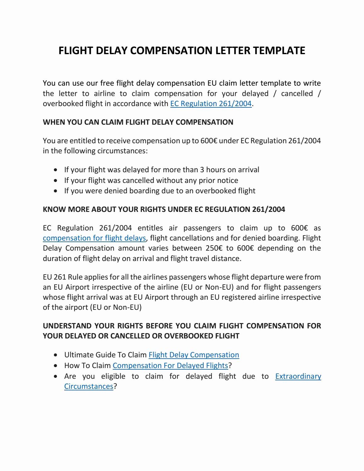 Claim Denial Letter Sample Airline Unique Flight Pensation Letter Template by Claim Flights issuu