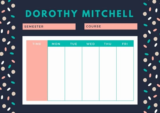 Class Schedule Maker for Teachers Awesome Customize 2 722 Class Schedule Templates Online Canva