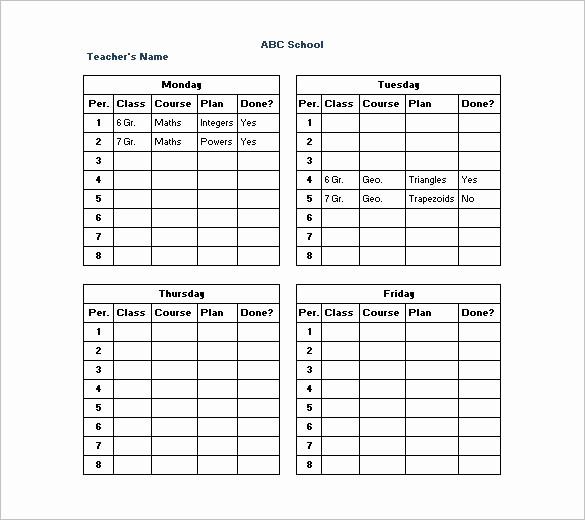 Class Schedule Maker for Teachers Elegant High School Master Schedule Template Excel School