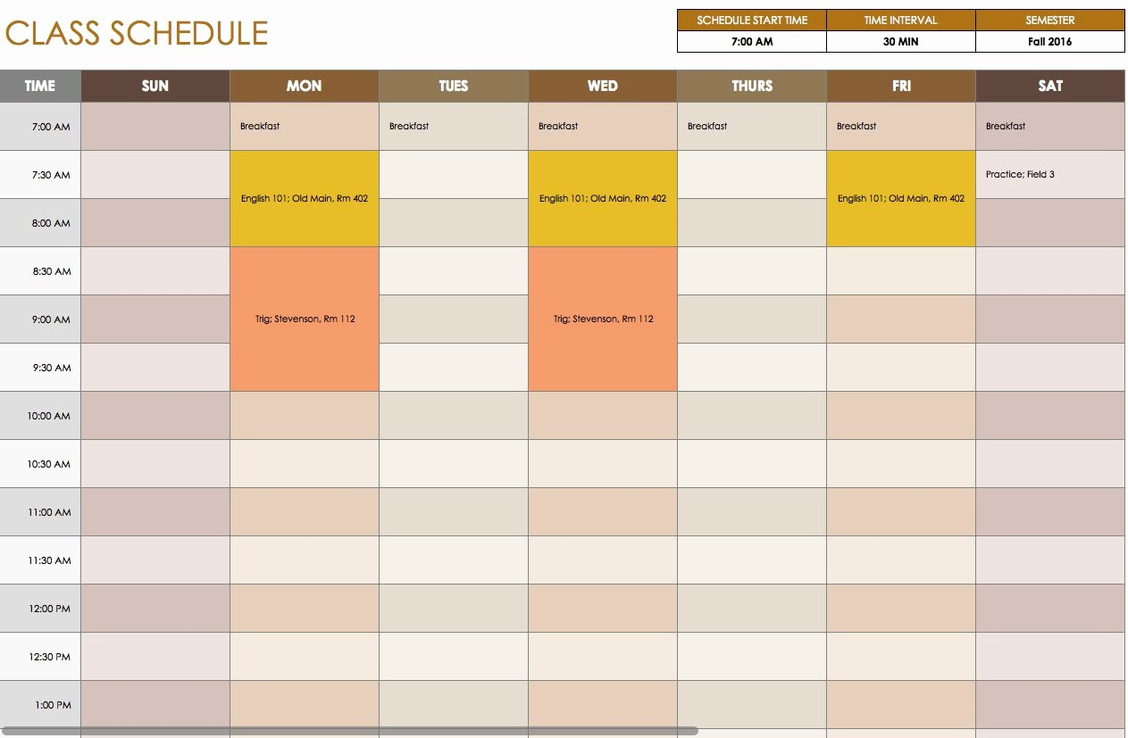 Class Schedule Maker for Teachers Inspirational Free Daily Schedule Templates for Excel Smartsheet
