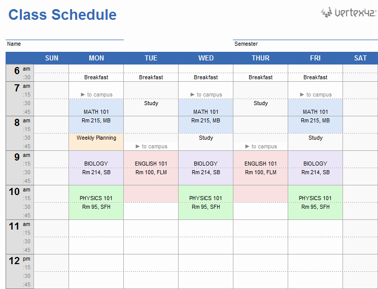 Class Schedule Maker for Teachers Lovely Weekly Class Schedule Template for Excel