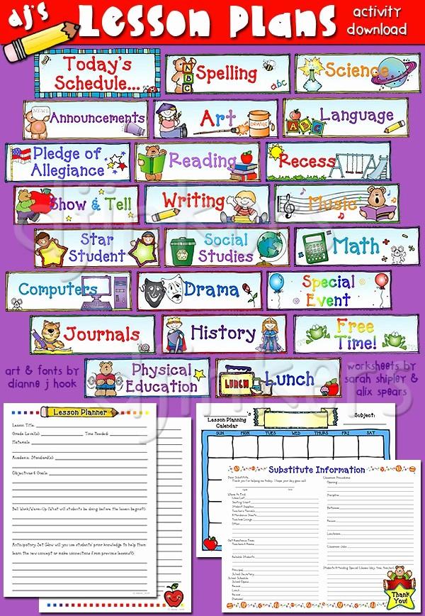 Class Schedule Maker for Teachers Luxury Classrooom Schedule Cards Lesson Plans & More Teacher
