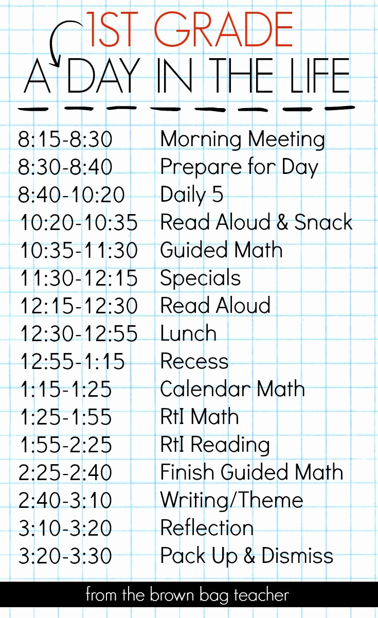 Class Schedule Maker for Teachers Unique 1st Grade Schedule A Day In the Life A Great Blog Post