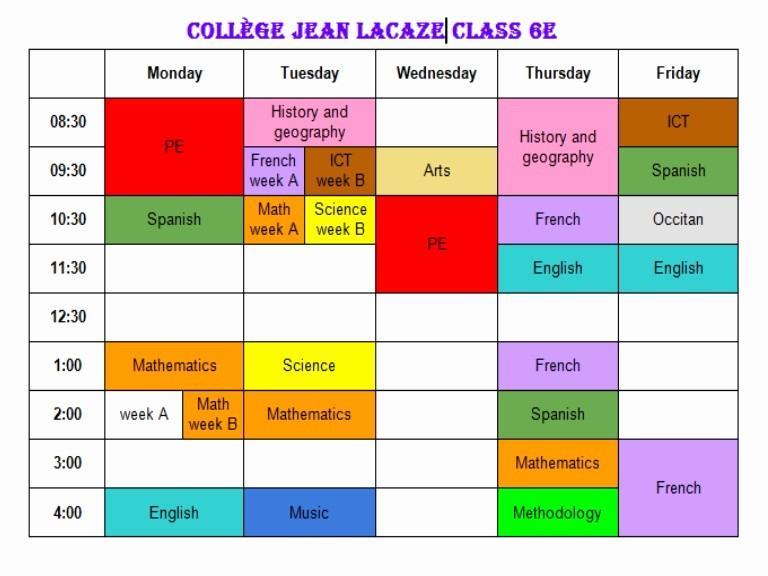 Class Schedule Maker for Teachers Unique College Jean Lacaze Timetable Class 6e
