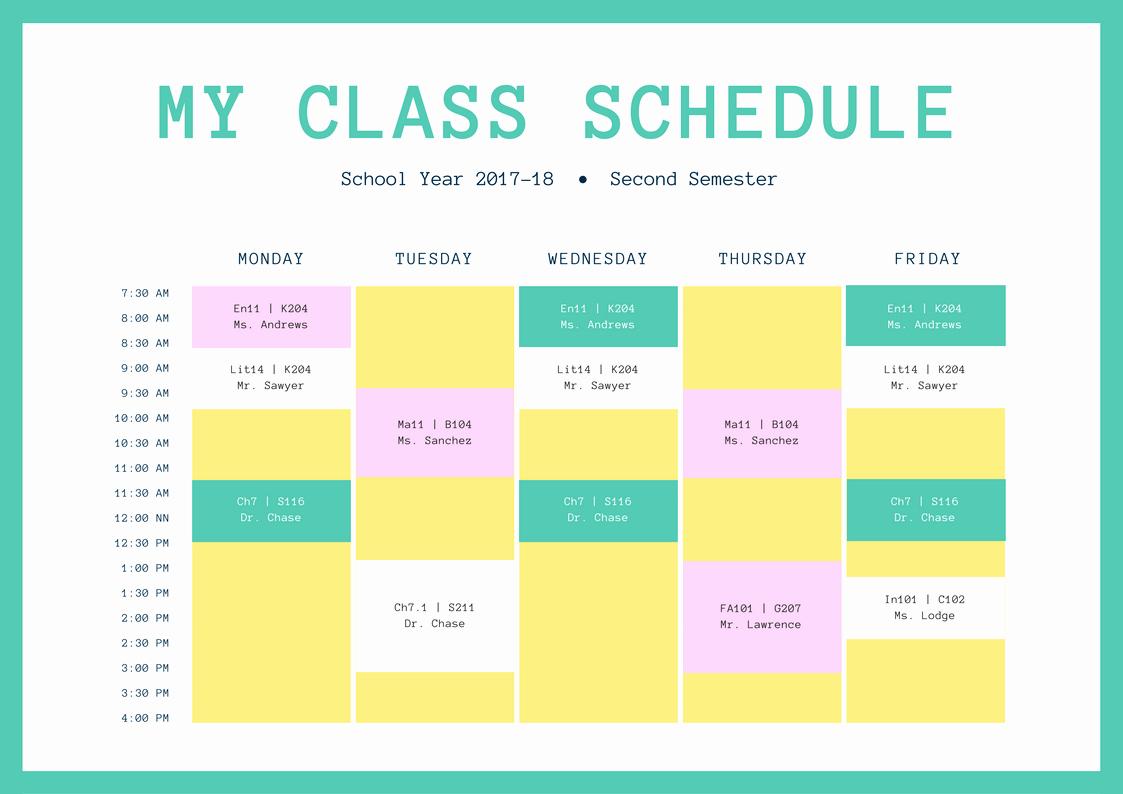 Class Schedule Maker Free Online Inspirational Free Line Class Schedules Design A Custom Class