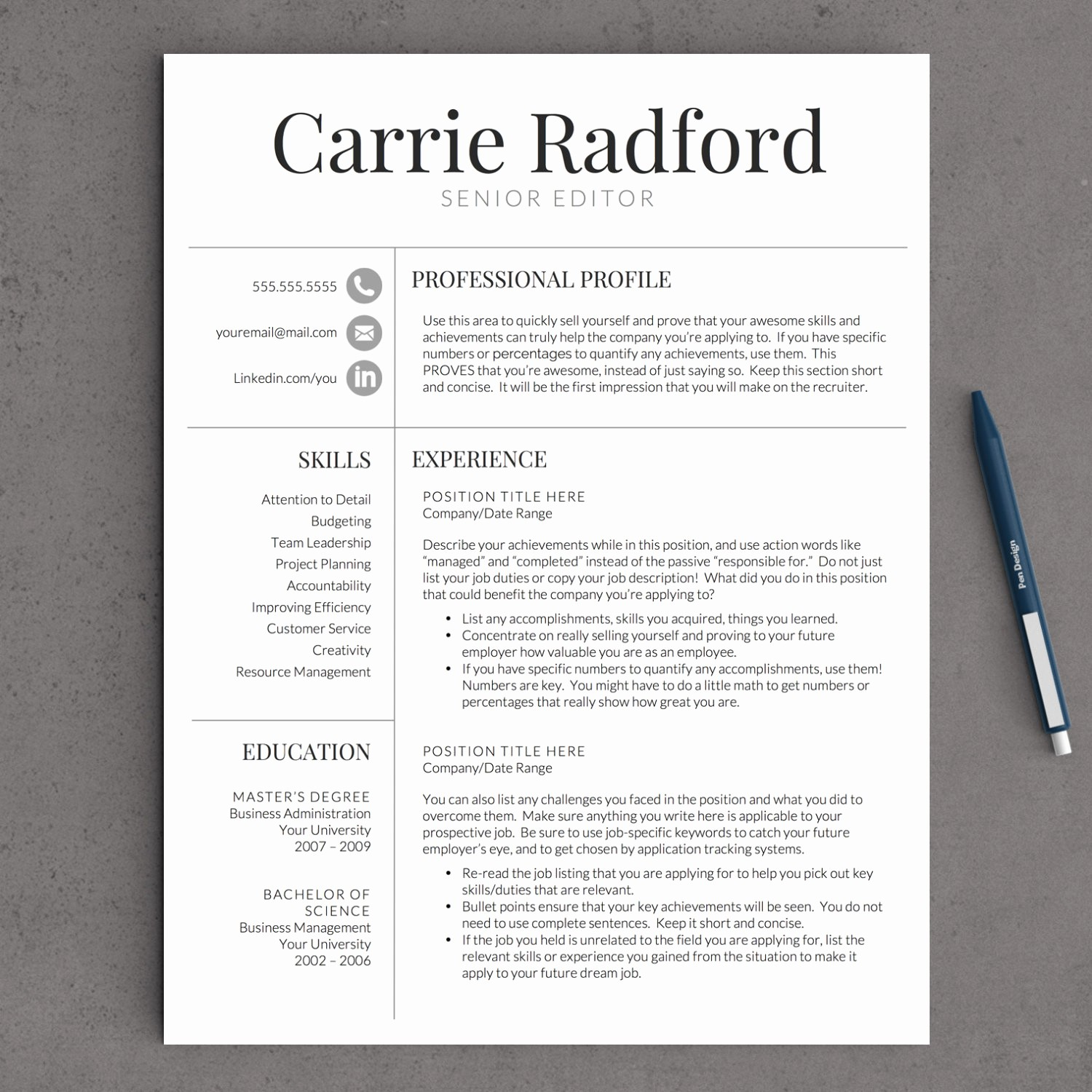 Classic Resume Template Word Download Beautiful Classic Professional Resume Template for by Landeddesignstudio