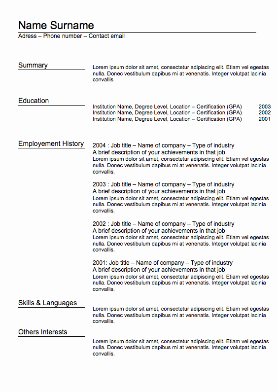Classic Resume Template Word Download Best Of Classic Resume Template Word