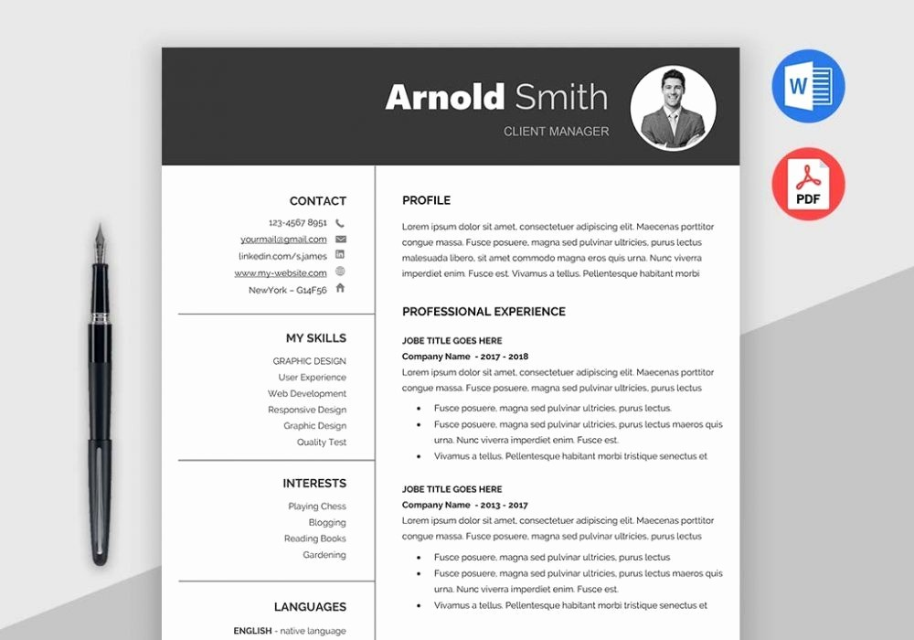 Classic Resume Template Word Download Elegant Cv In 2018